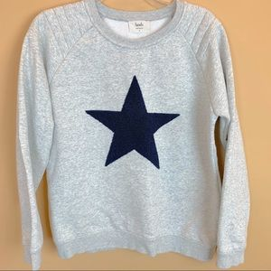 Hush sweatshirt navy blue star gray comfy